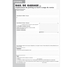 Bail de garage ou Parking